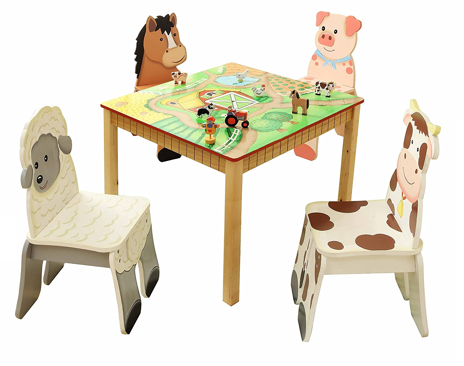 Fantasy Fields | Hand Crafted /& Hand Painted Details Table Sold Seperately Happy Farm Animals themed Kids Wooden Cow Chair Child Friendly Water-based Paint
