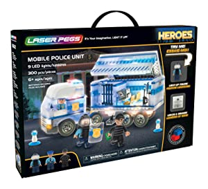 Laser Pegs Mobile Police Unit Light Up Building Kit (300Piece)