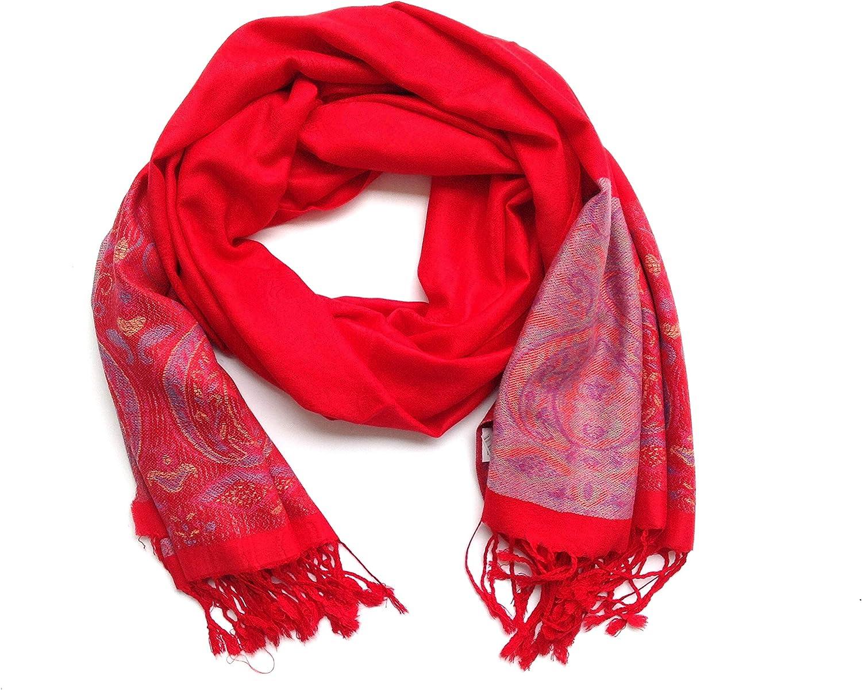 HC Bufanda Mujer Pashmina Bufanda de Moda pañuelo Chal para Mujer (Rojo Oscuro): Amazon.es: Hogar