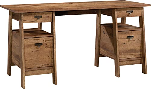Sauder Trestle Executive Trestle Desk, Vintage Oak finish