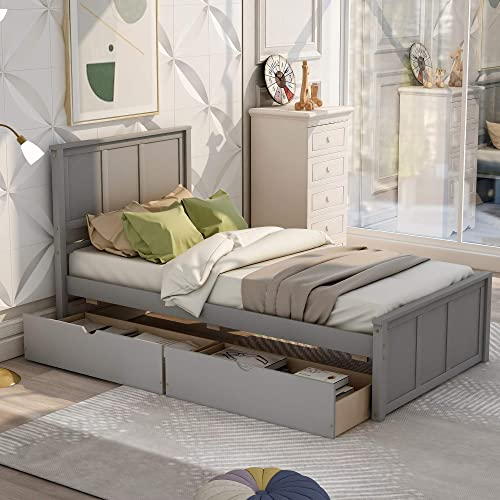P PURLOVE Platform Bed
