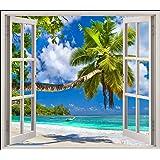 Stickersnews - Sticker fenêtre trompe l oeil Plage palmier réf 5441 Dimensions - 80x70cm