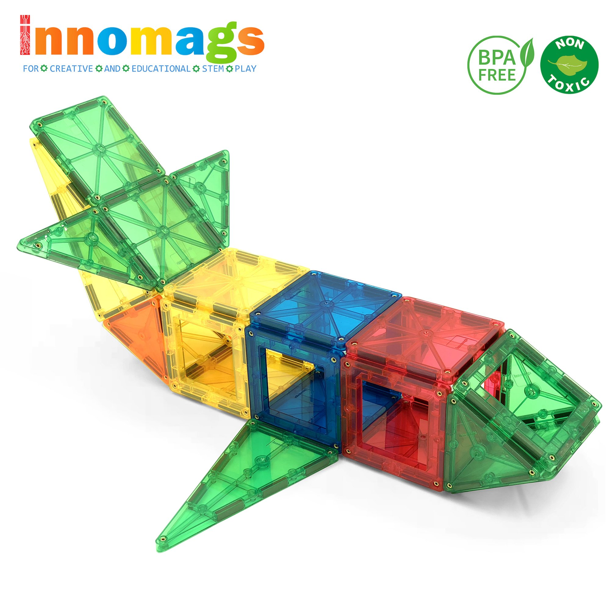 Innomags Magnet Tiles 32 Piece Magnetic Building Blocks Tile Set, Clear 3D Magnetic Tiles Stem Educational Construction Playboards Toy for Kids, Creative, Inspirational, Recreational, Safety Certified
