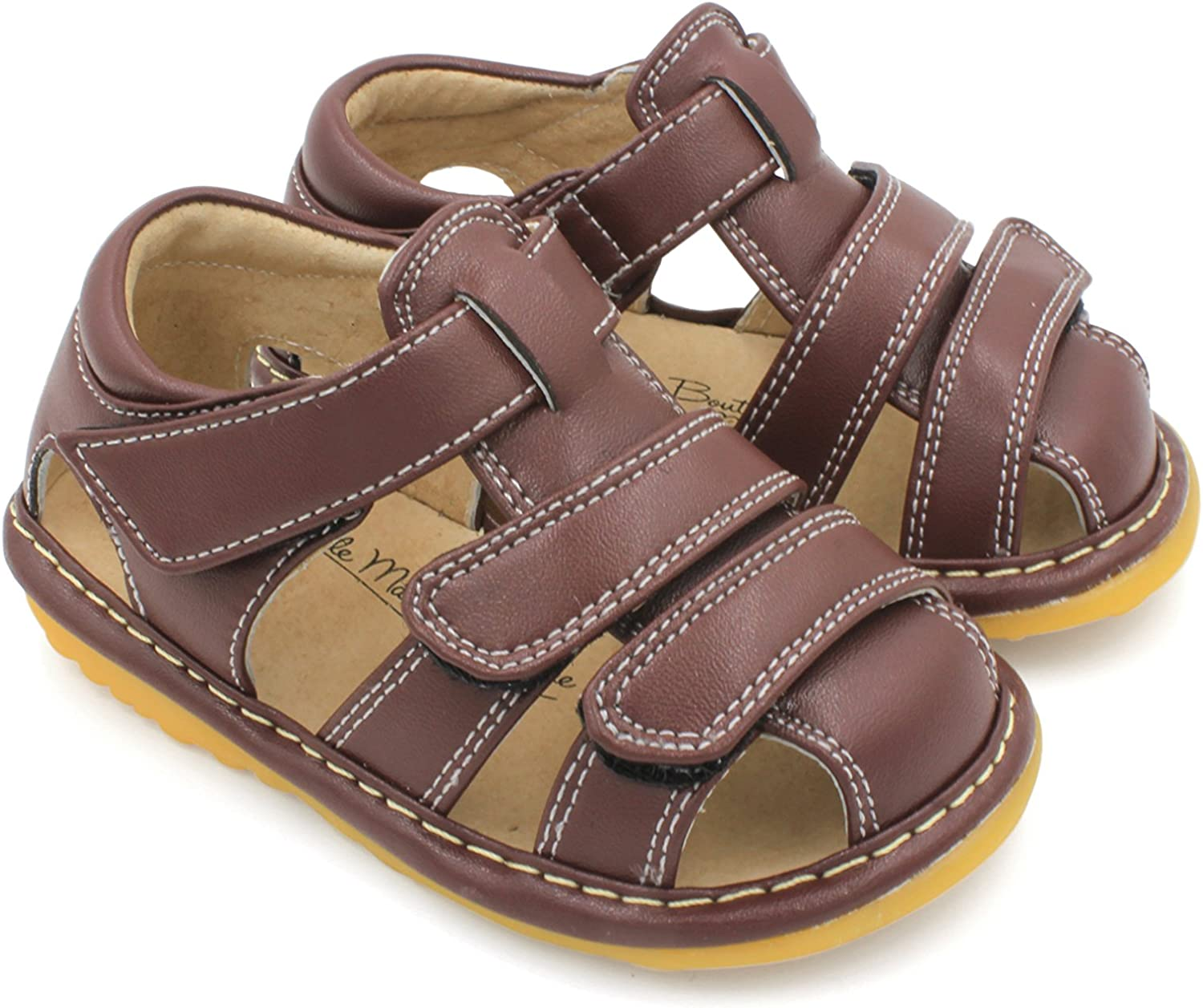 Brown Premium Quality Black or Navy Blue Closed Toe Adjustable Strap Squeaky Sandals Little MAE/'S Toddler Boy Sandals Removable Squeakers