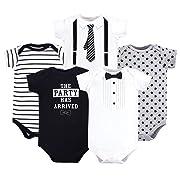 Little Treasure Unisex Baby Cotton Bodysuits, Tux & tie 5-Pack Short-Sleeve, 0-3 Months (3M)
