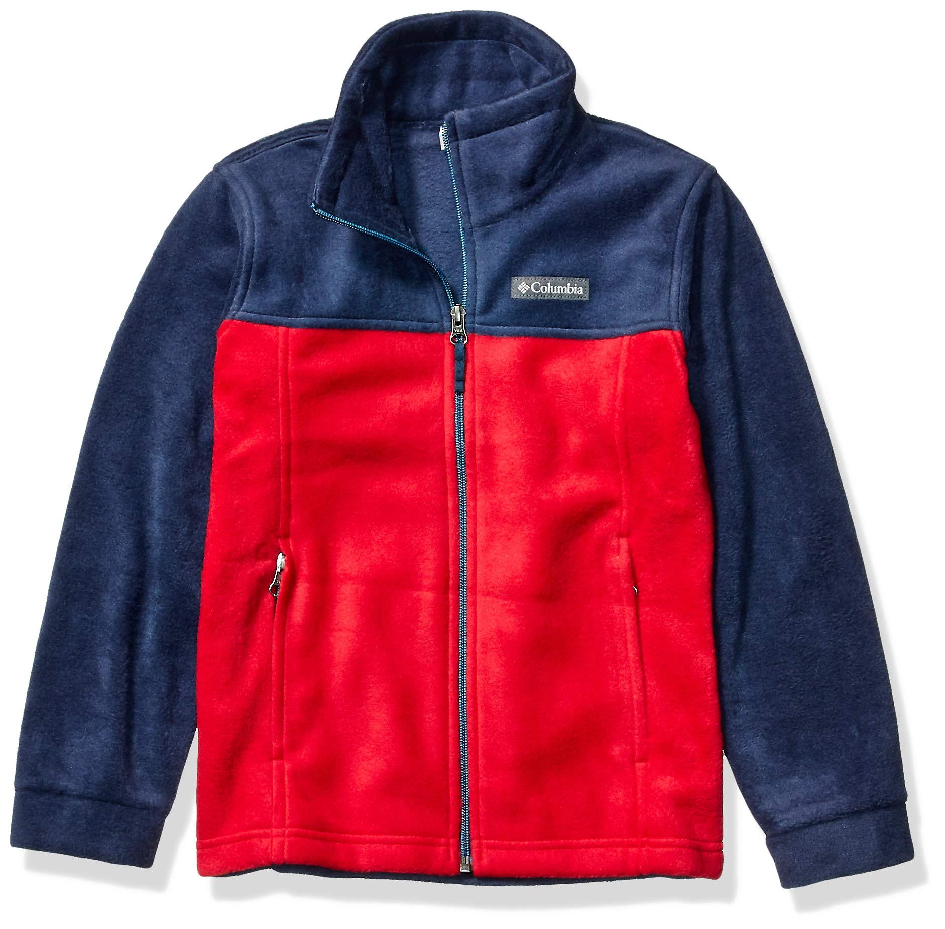 Columbia boys Steens Mountain II Fleece Jacket  ,mountain red/ collegiate navy ,Large ,Big Boys