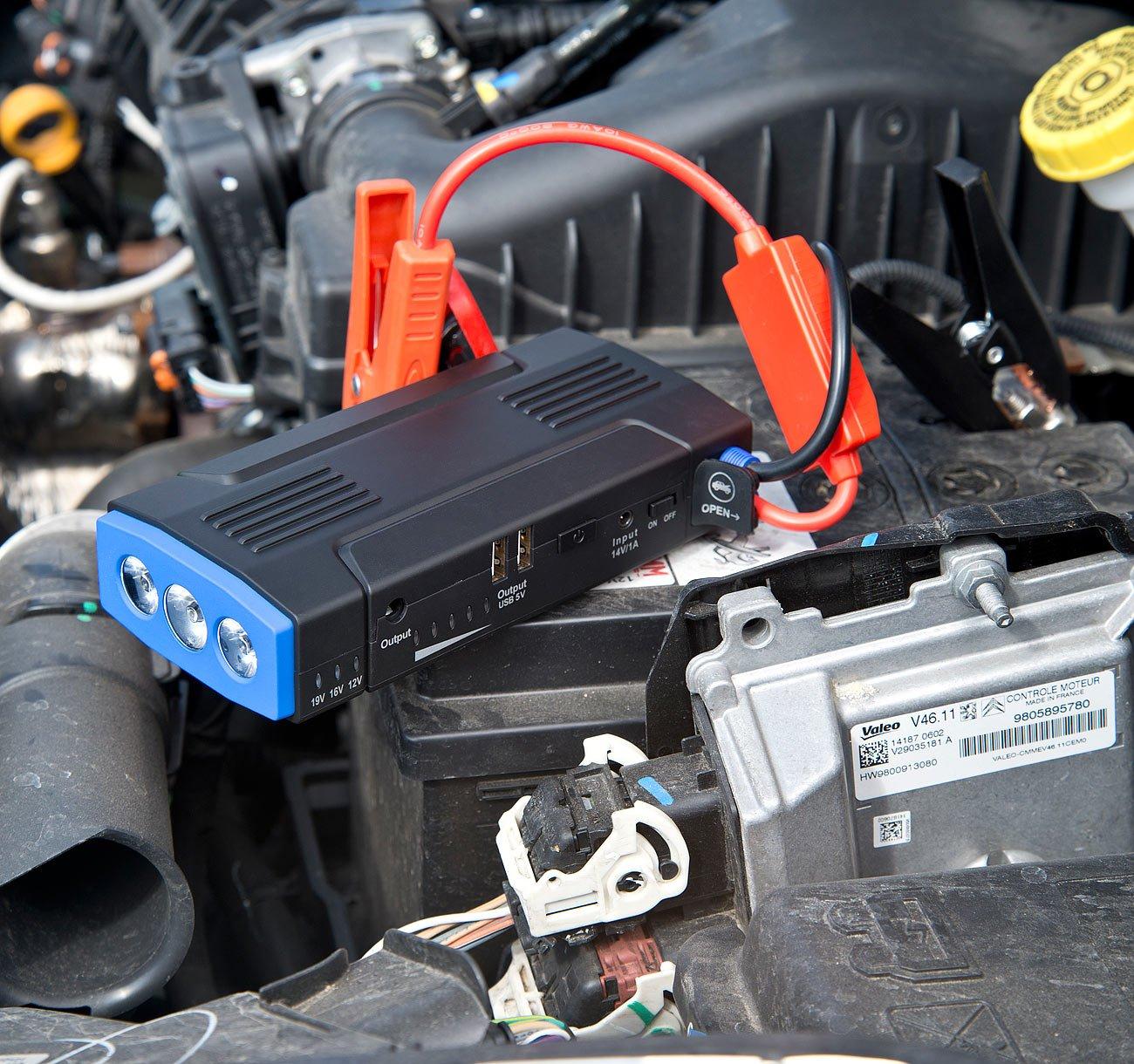 Powerbank Zigarettenanz/ünder reVolt Auto Starthilfe 400 A Notebook-Powerbank mit Kfz-Starthilfe /& 2X USB 12.000 mAh