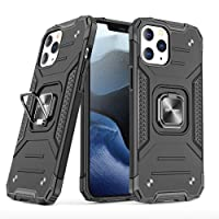 SKYREX Compatible with iPhone 12 / iPhone Pro [ Military-Grade ] with Phone Grip and Drop Tested Protective Kickstand Case Cover (Black, iPhone 12 / Pro 6.1-inch)