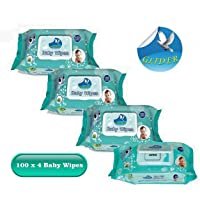 GLIDER Baby Wipes (100 Pieces , Green) - Pack of 4