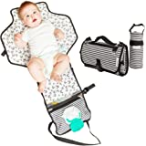 Portable Changing Mat with Insulated Bottle Bag   Waterproof Extra Large Cushioned Pillowed Baby Changing Bag   Holds Baby Wipes   Perfect for Newborns, Babies and Toddlers