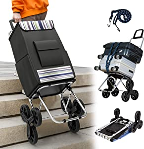 Kanchimi Shopping Cart with Wheels,220 lbs Heavy Duty Cart for Stair Climber Cart,2in1 Foldable Grocery Cart with 50L Shopping Bag,Utility Cart with 360°Rotating Handle&Adjustable Elastic Rope(Black)