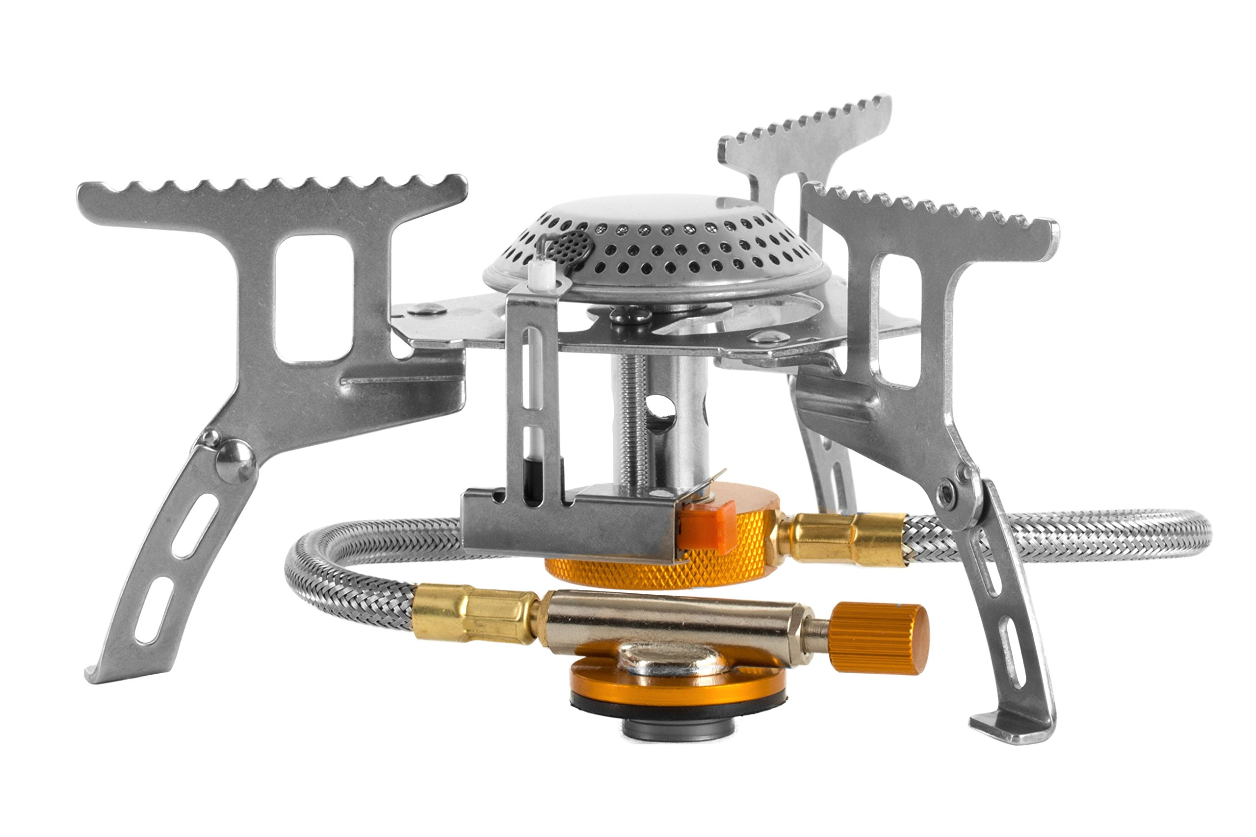 Ultralight Collapsible Camping Stove with Adjustable Windproof Flame and 3500W Ignition Spark - Includes Travel Case for Backpacking Picnics Sporting Mountaineering BBQ's Outdoor Festivities