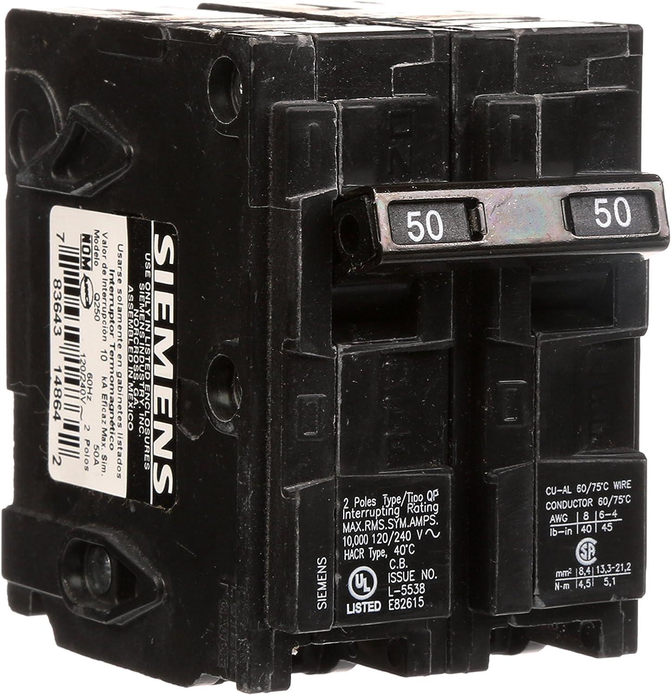 Q250 50-Amp Double Pole Type QP Circuit Breaker - -