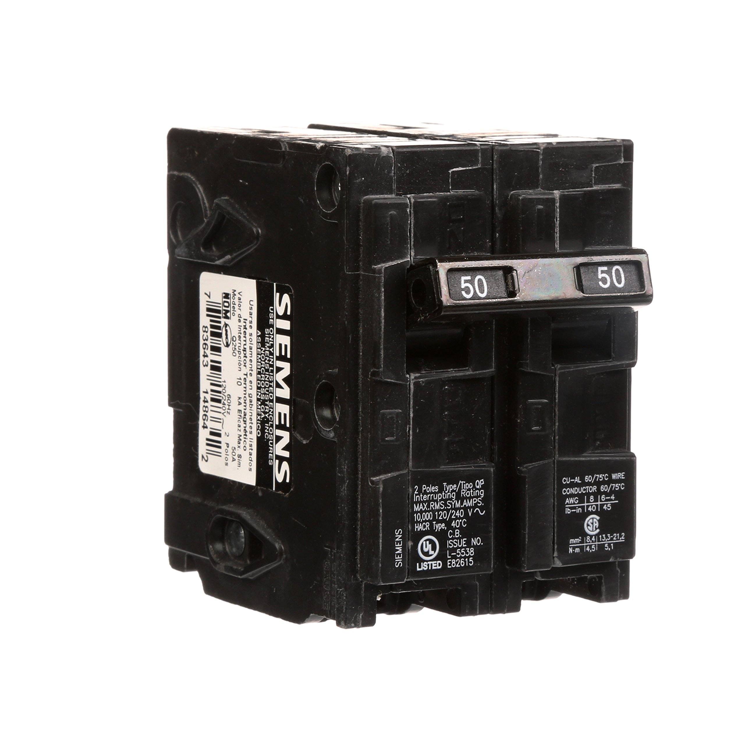 Q250 50-Amp Double Pole Type QP Circuit Breaker by Siemens (Image #3)