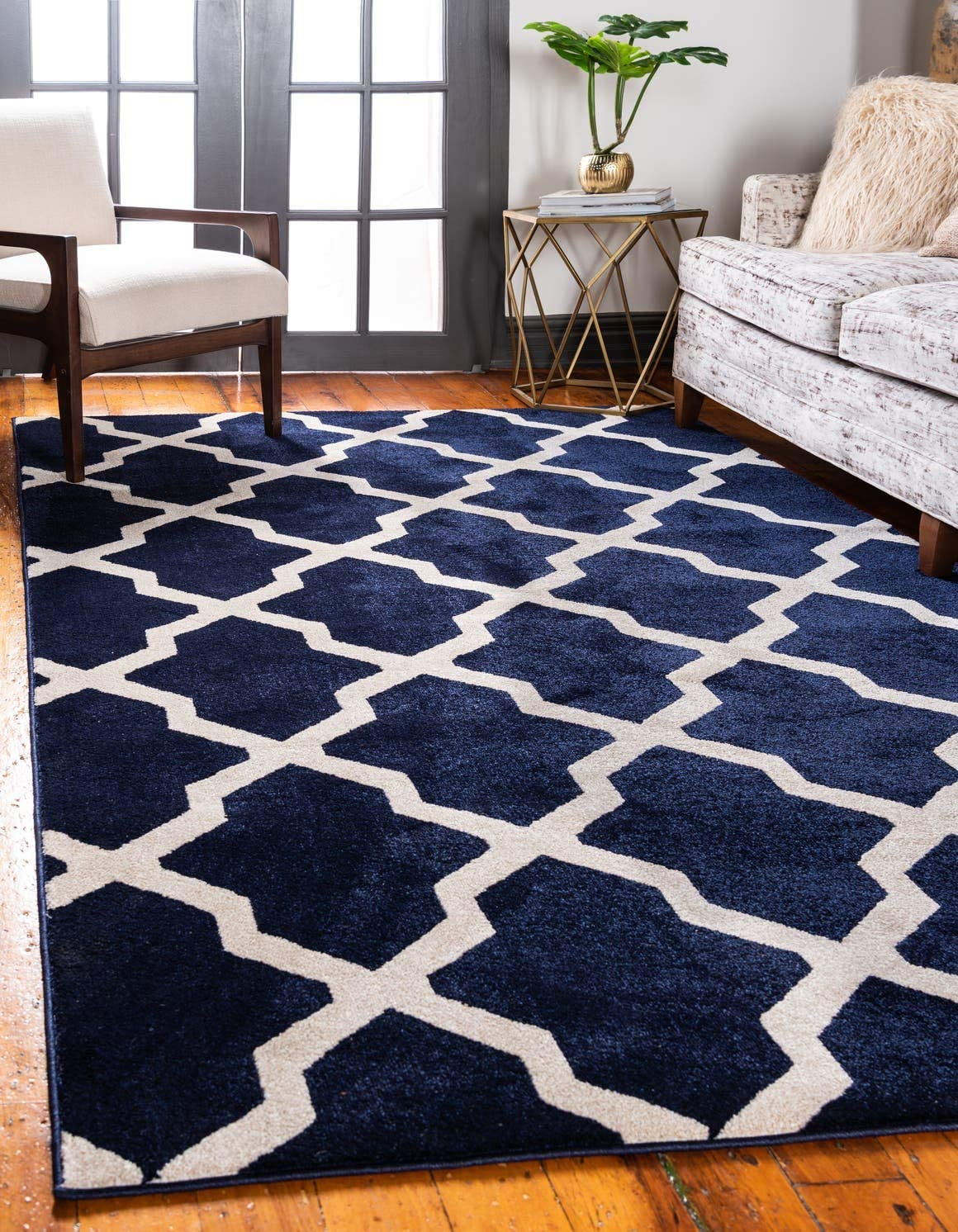 Unique Loom Trellis Collection Geometric Modern Navy Blue Area Rug 9 0 x 12 0