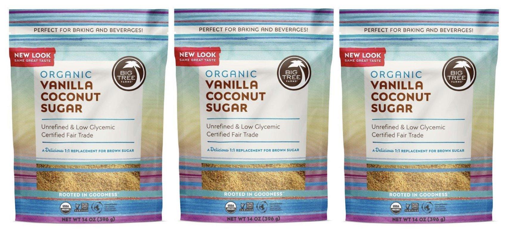 Big Tree Farms Organic Vanilla Coconut Sugar, Non-GMO, Gluten Free, Vegan, Fair Trade, Natural Sweetener, 14 Ounce (Pack of 3) (Packaging May Vary)