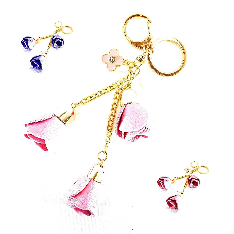 Blumen Schlüsselanhänger - ROSA - Flower Keychain mit DREI schönen PU-Leder Blumen