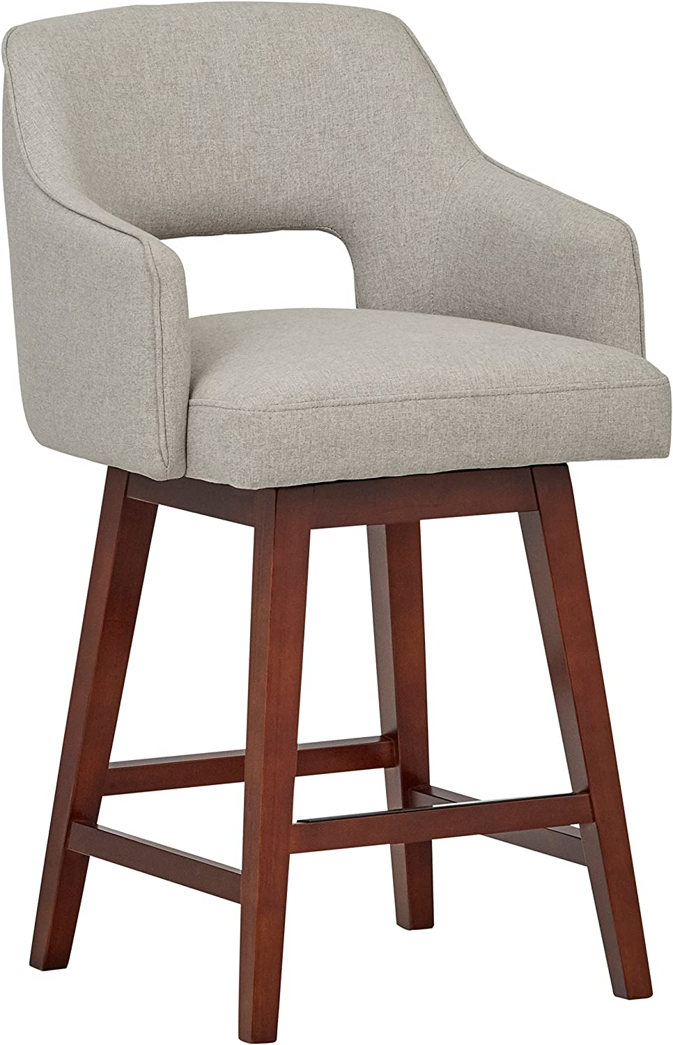 Rivet Malida Mid-Century Modern Open Back Swivel Kitchen Counter Stool – 26 Seat Height, Felt Grey
