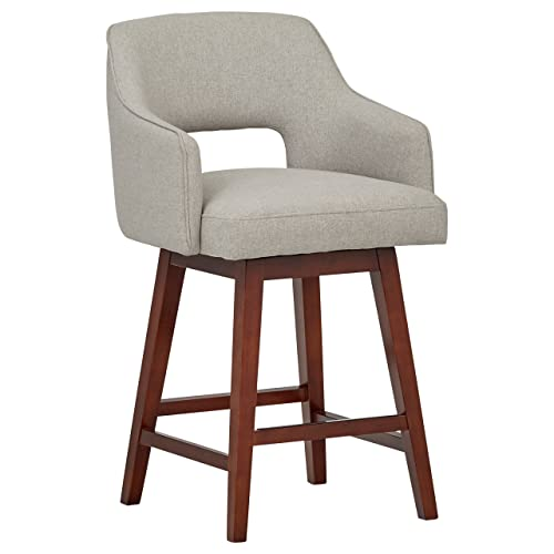 Rivet Malida Mid-Century Modern Open Back Swivel Kitchen Counter Height Stool, 37 H, Felt Grey