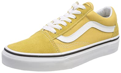 Vans Unisex Adults Old Skool Classic Suede/Canvas Sneakers, Yellow  (Ochre/True White), 5 UK (38 EU)