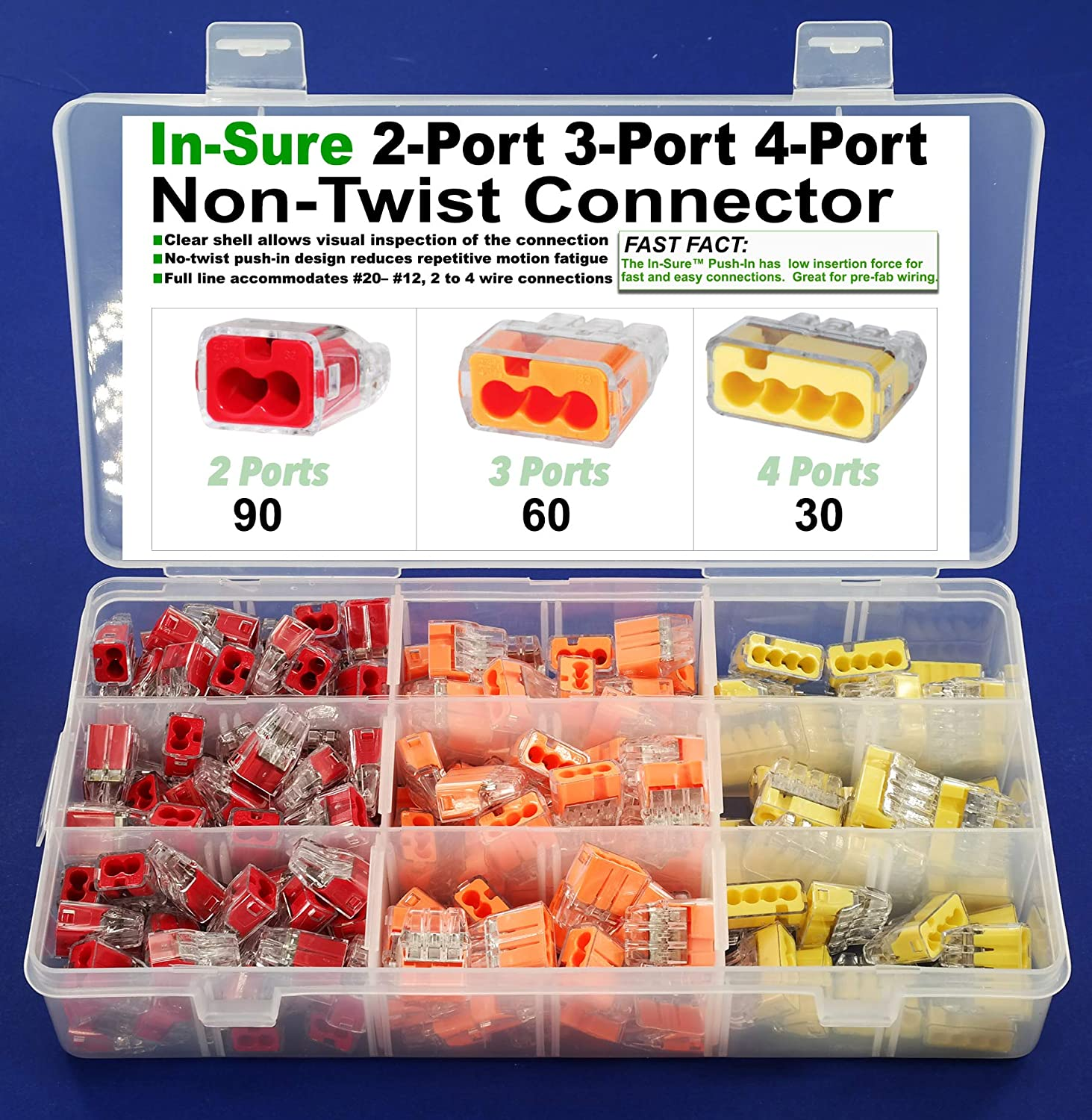 and Tin Bonded Wire Stranded 34 Red Non-Twist 2 Conductor Connector for Solid Ideal in-Sure 2-Port 30PK