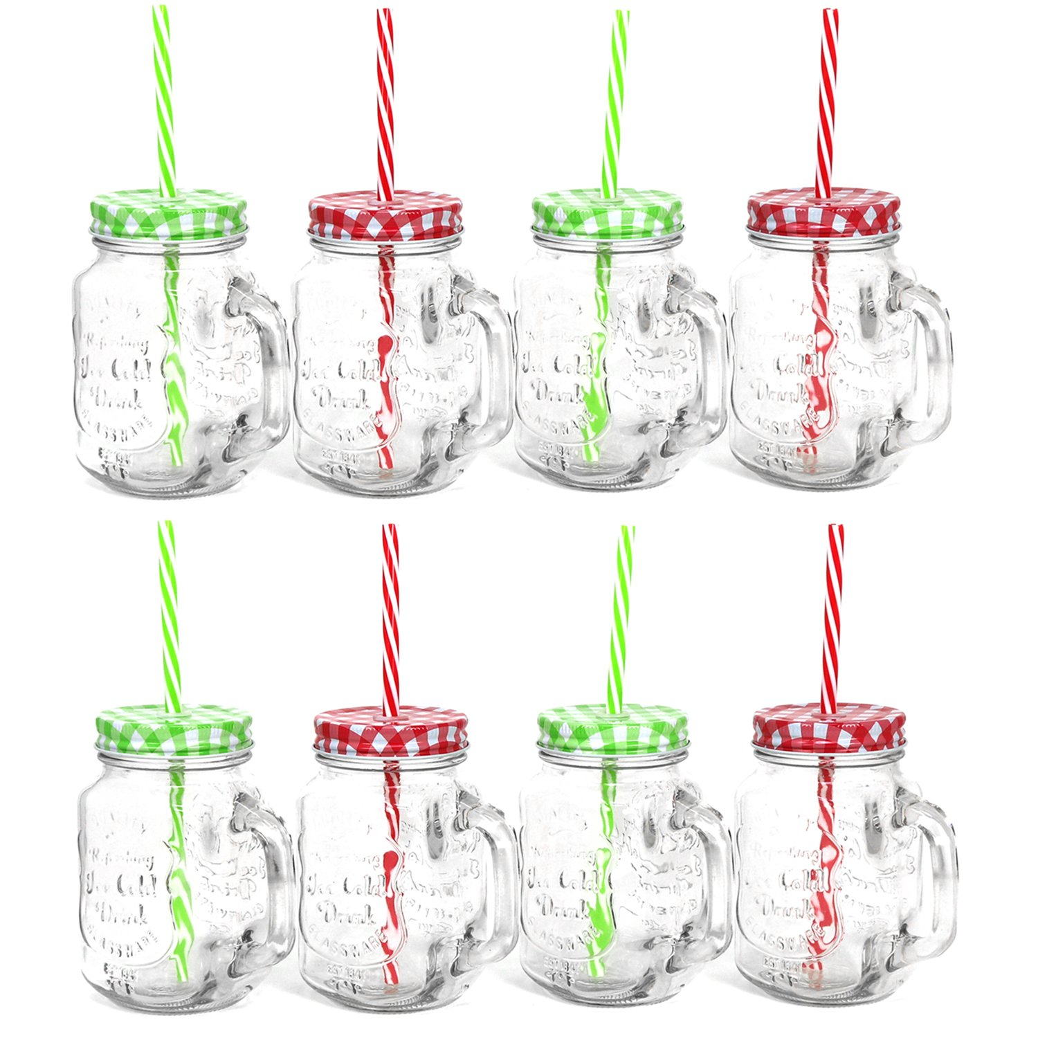 COM-FOUR® 6X Glass with Straw and lid, Tumbler Glasses with Handle, 470 ml (06 Piece Mix)