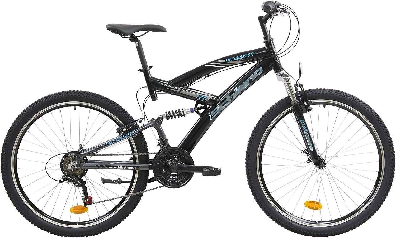 F.Lli Schiano Energy Bicicleta de suspensión Completa, Mens, Negro-Azul, 26: Amazon.es: Deportes y aire libre
