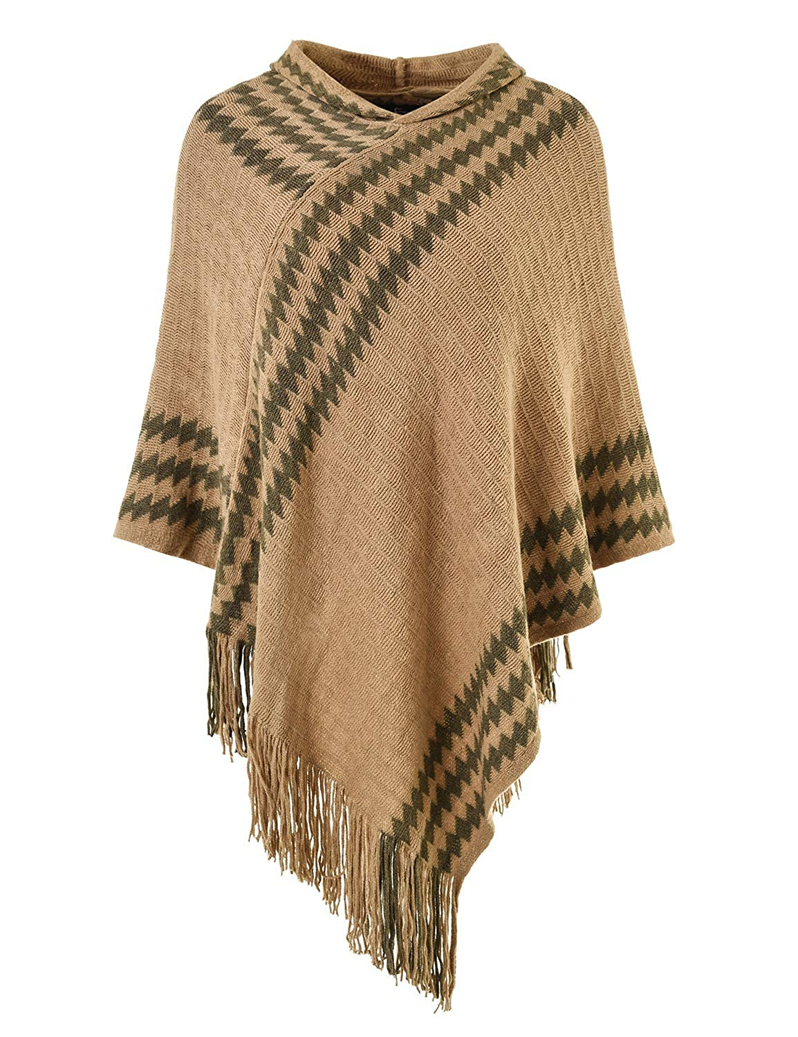 Ferand Women's Hooded Zigzag Striped Knit Cape Poncho Sweater with Fringes One Size Black