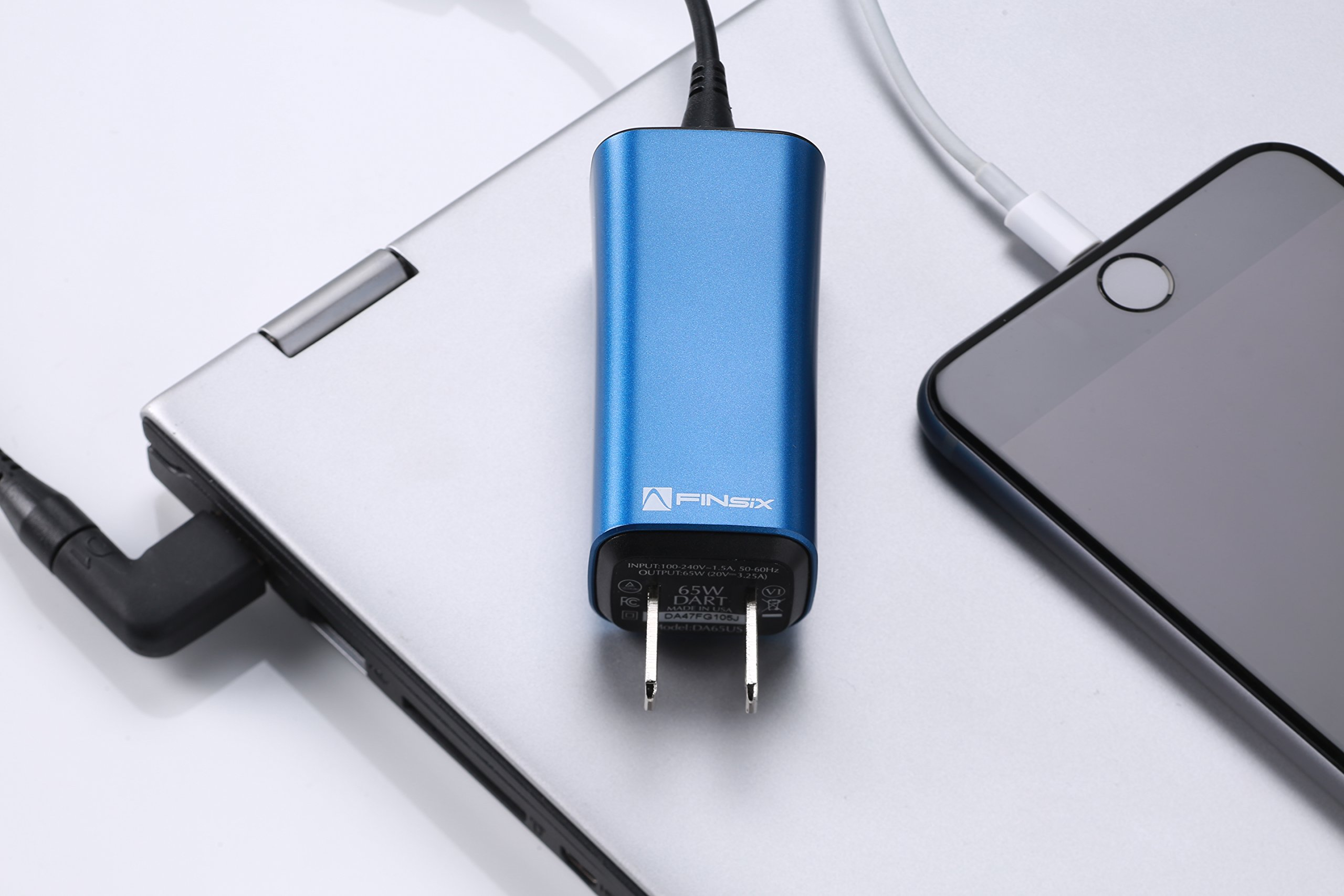 FINsix Dart 65W Smallest Lightweight Portable PC Laptop Charger plus USB devices | Fits in Pocket | Blue | Integrated 2.1A USB Port for Acer Asus Dell HP Lenovo Samsung Android iPhone iPad by FINsix