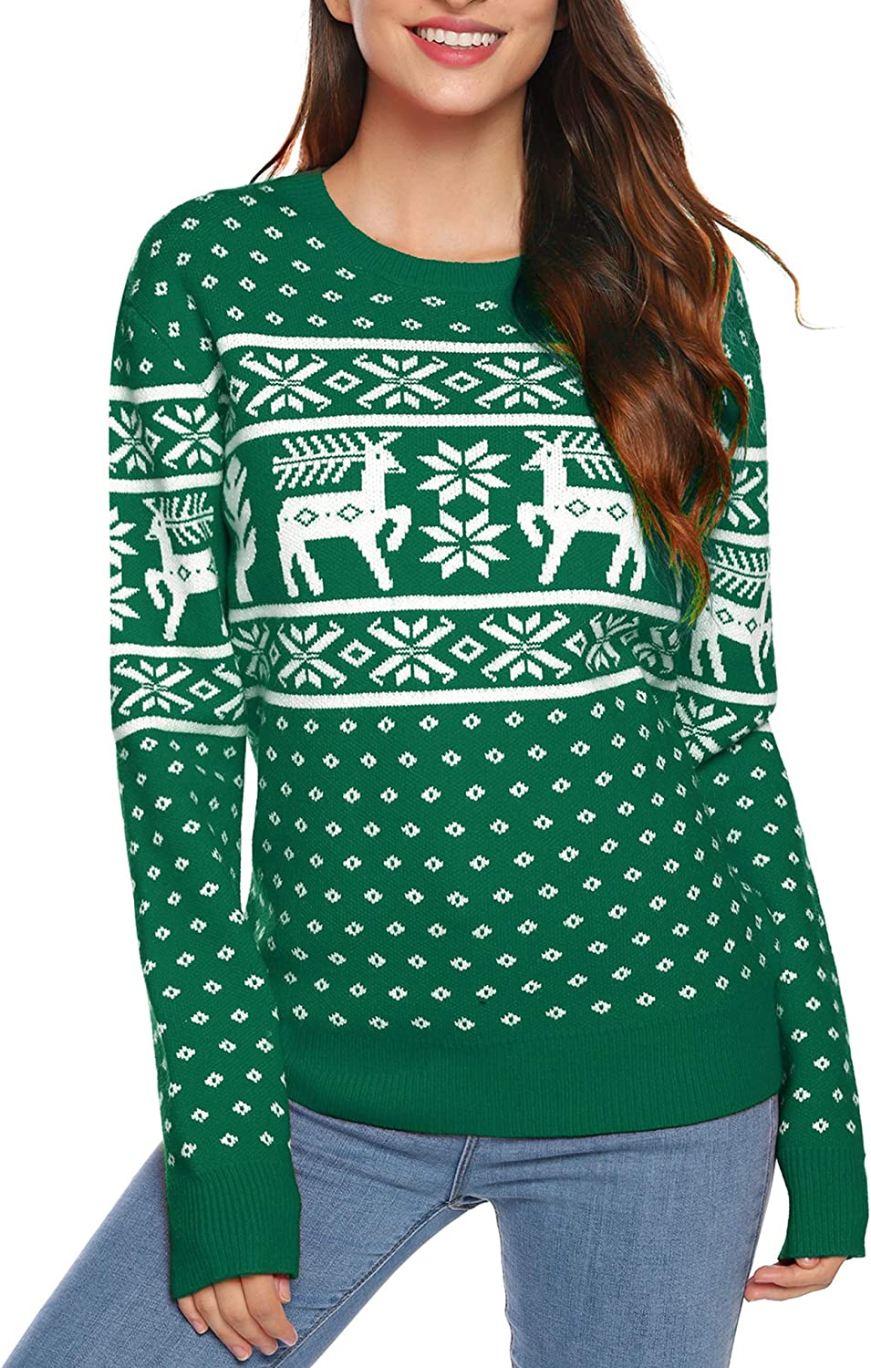 Aibrou Christmas Family Jumpers Xmas Matching Pullover Sweater Long Sleeve Reindeer Snowflake Knitted Top for Men Women Kids