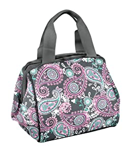 Fit & Fresh Charlotte Insulated Lunch Bag for Women, Pink Aqua Paisley