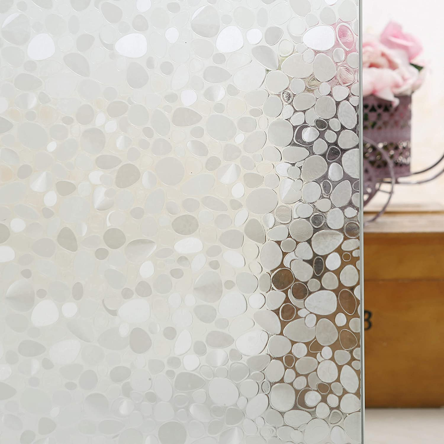 Jahoot Privacy Window Films, Translucent Glass Tint Static Cling Treatment for Home Security & Decorative, Heat Control, UV Stop - No Glue, No Residue, Easy Removal (Art Pebbles, 35.4x78.7 Inches)