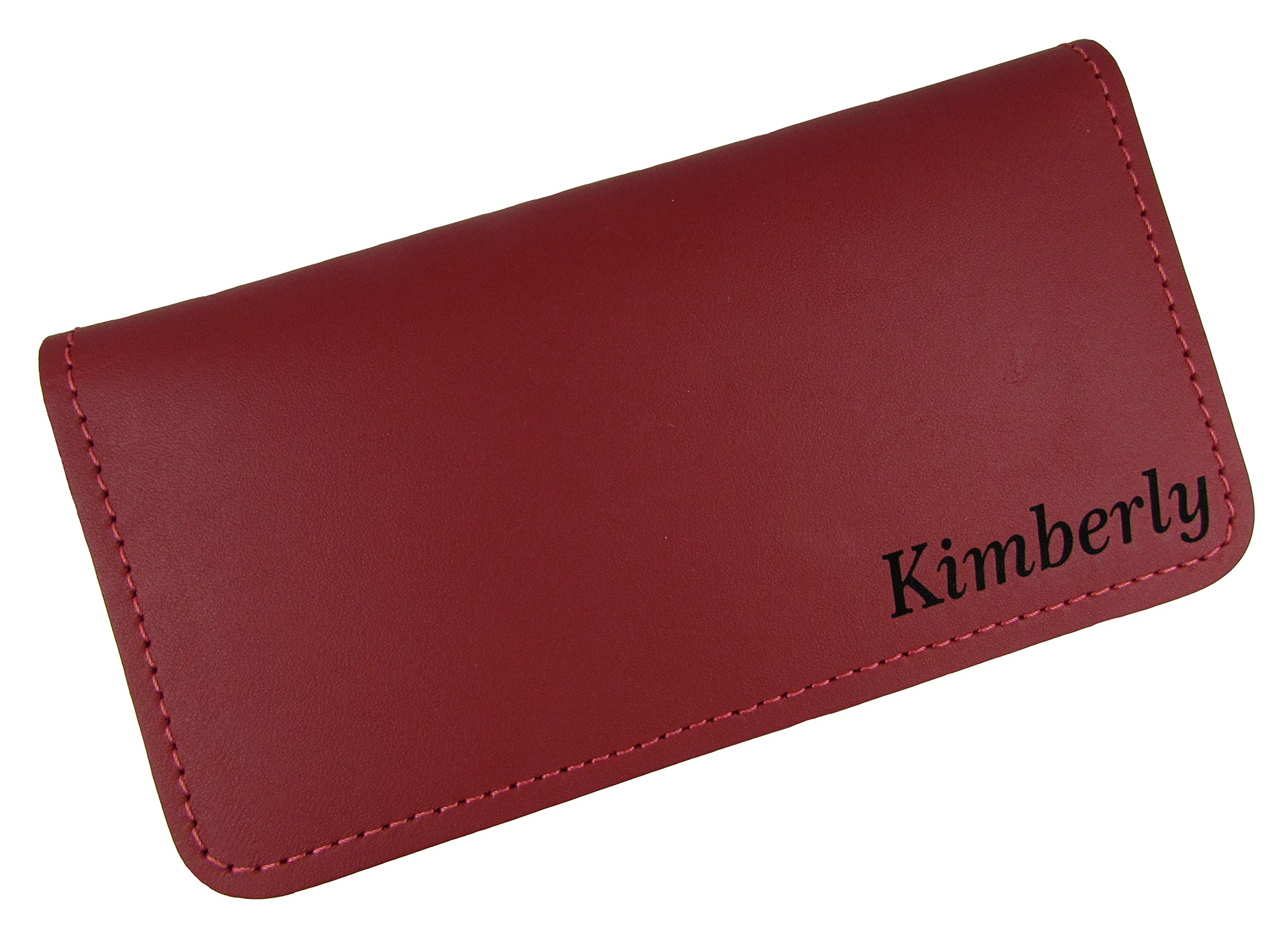 Personalized Name or Monogram Leather Checkbook Cover, USA Made Red