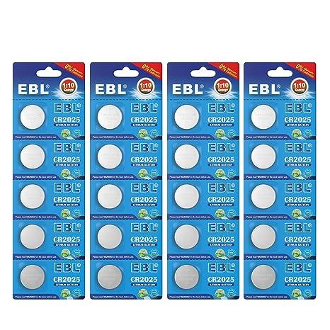 EBL CR2025 Pilas de Botón de Litio 3V para Relojes, Linternas, Llaves del Coche