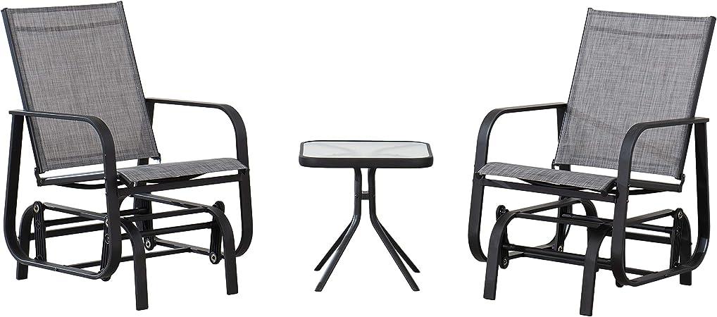 Amazon Basics 3-Piece Outdoor Patio Steel Glider Sling Chair Bistro Dining Set - Grey