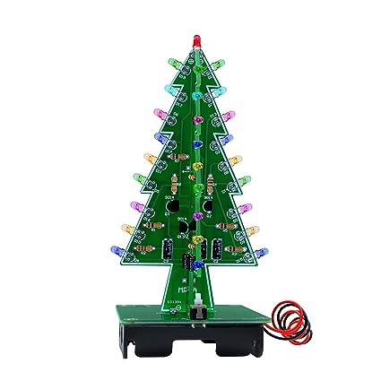 mirocle 3d árbol de Navidad LED luz intermitente DIY Kit Circuito flash de 7 colores LED