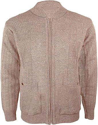 Knitted Gents Mens Vintage Grandad Style Classic Zipper Plain Zip Up Cardigan