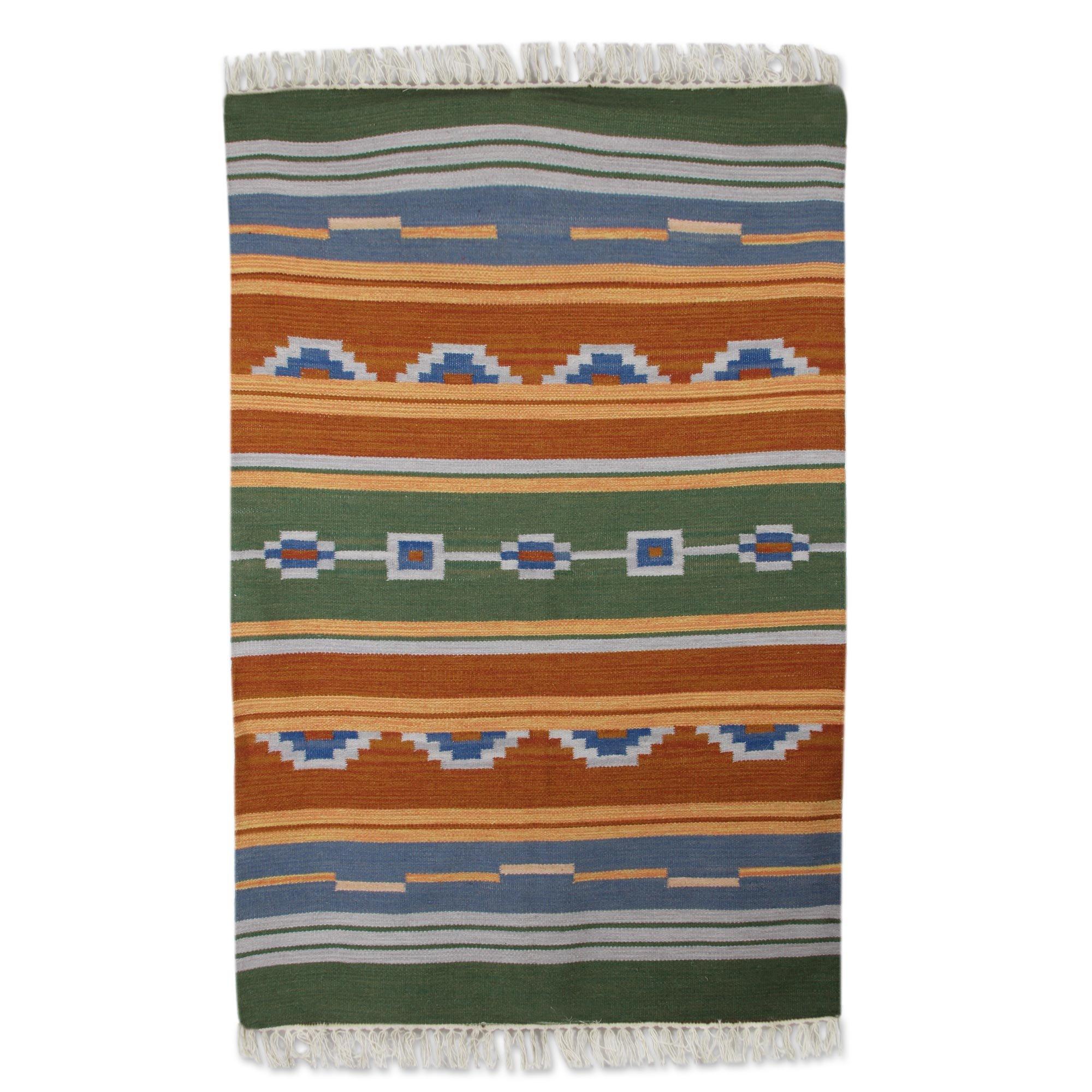 NOVICA Green Orange Wool Hand Woven Area Rug (4x6), 'Desert Dunes'