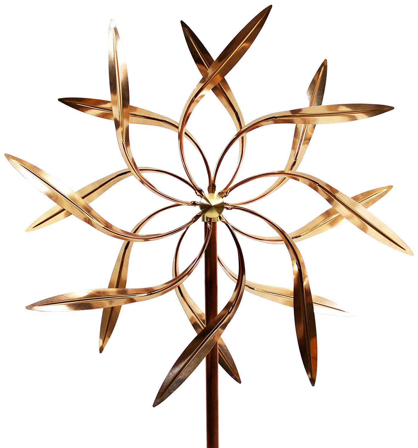 Kinetic Copper Wind Sculpture, Dual Spinner Dancing Willow Leaves