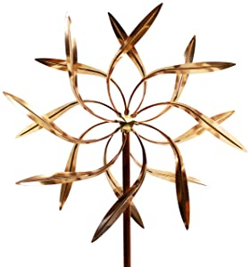 Stanwood Wind Sculpture Kinetic Copper Wind Sculpture, Dual Spinner Dancing Willow Leaves