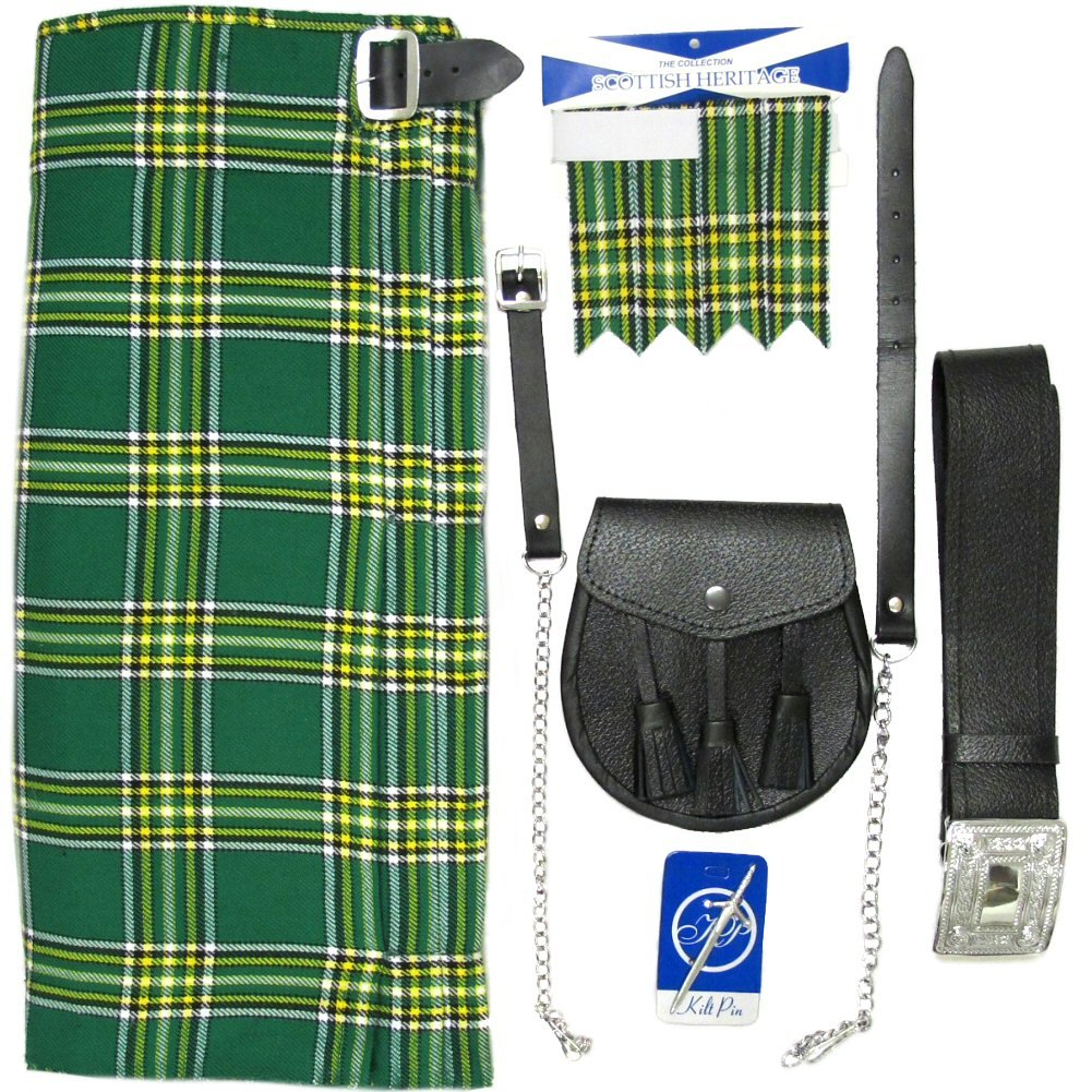 Irish Tartan 5 Piece Kilt Outfit - Size 38 by Tartanista