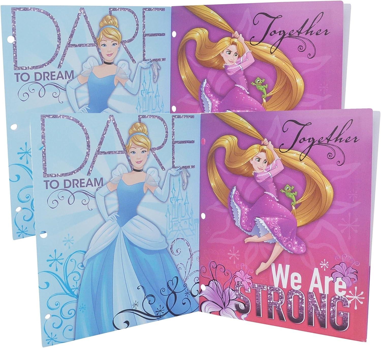 Disney Princess 3 anillas cartera Poly Plástico carpetas con bolsillos, pack de 4 unidades: Amazon.es: Oficina y papelería