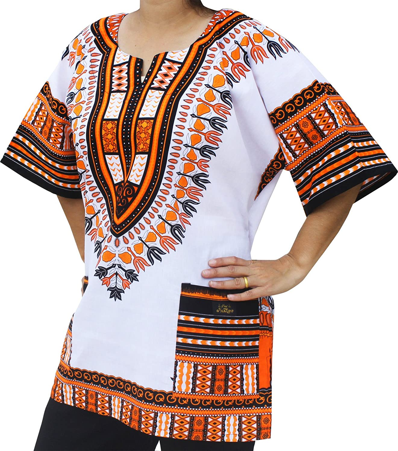 70s Costumes: Disco Costumes, Hippie Outfits RaanPahMuang Unisex African Dashiki Kaftan Shirt all sizes XS - 7XL All Colours $25.70 AT vintagedancer.com