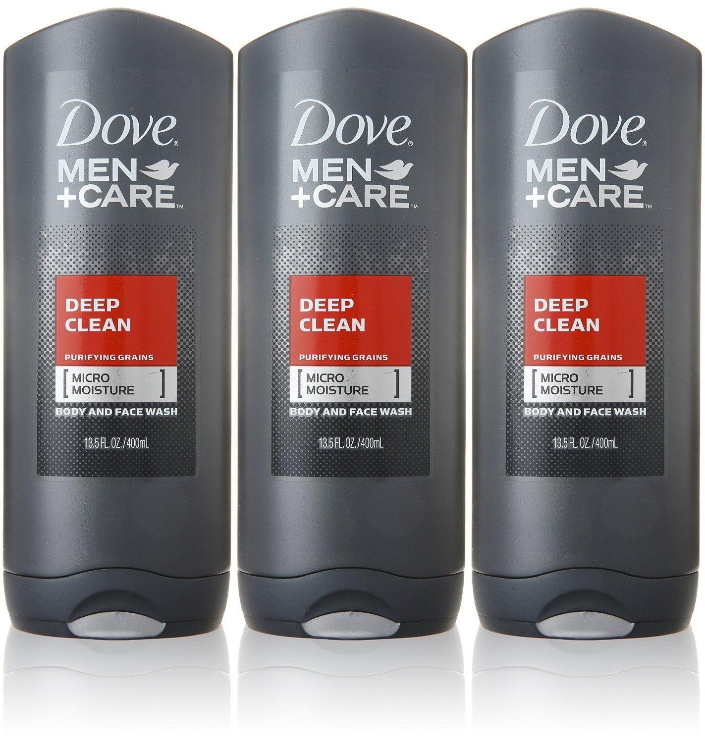 Dove Men+Care Body and Face Wash, Deep Clean, 13.5 Ounce (Pack of 3)