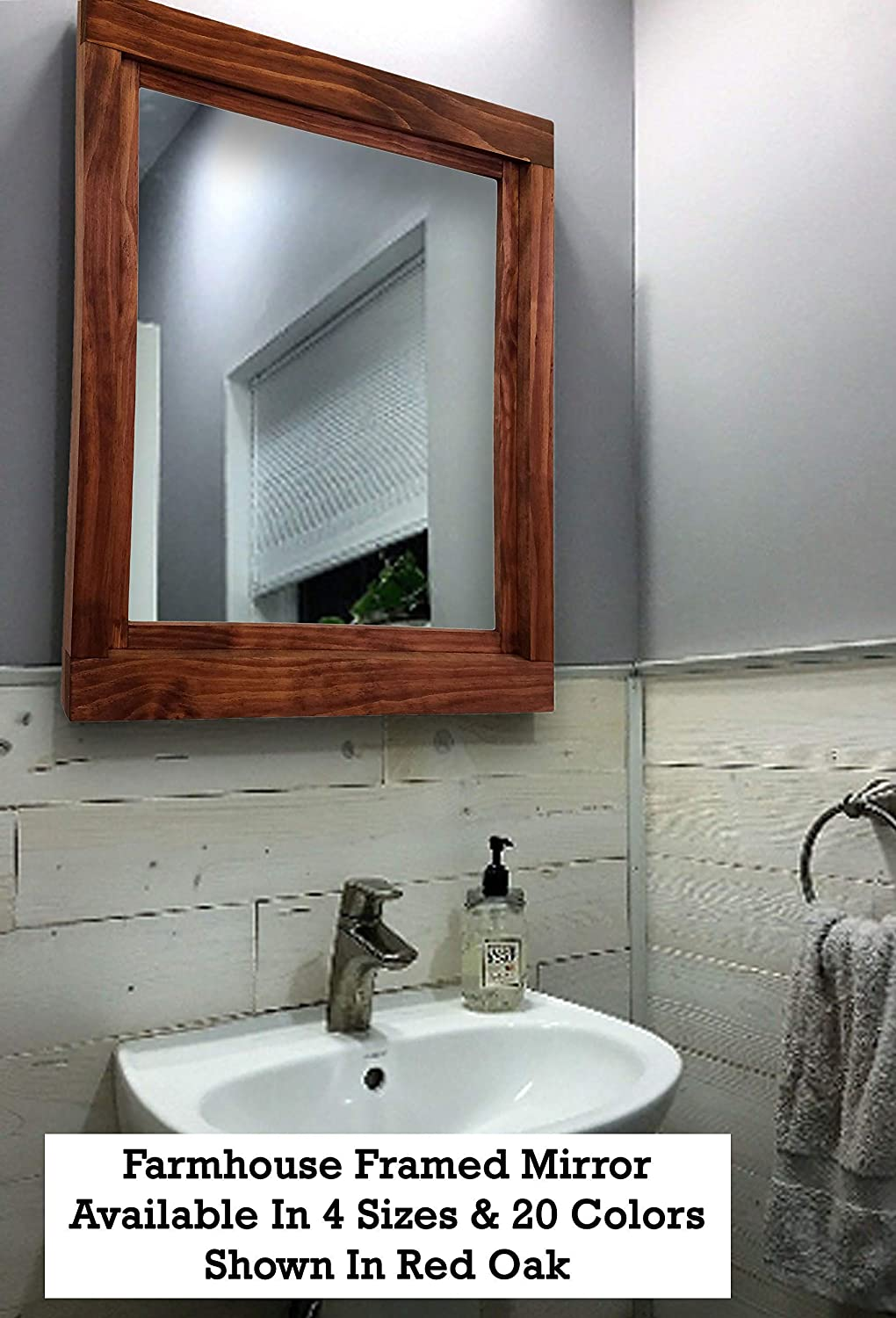 Amazon Com Farmhouse Mirrors Large Wall Mirror Bathroom Vanity Mirror Framed Wood Mirror Wall Mirrors For Living Room Wall Mirror Decorative Available In 5 Sizes 20 Stain Colors Red Oak Handmade