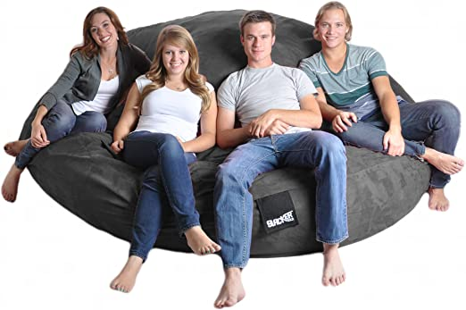 SLACKER sack 8 Feet Round Charcoal Grey XXXL Foam Bean Bag