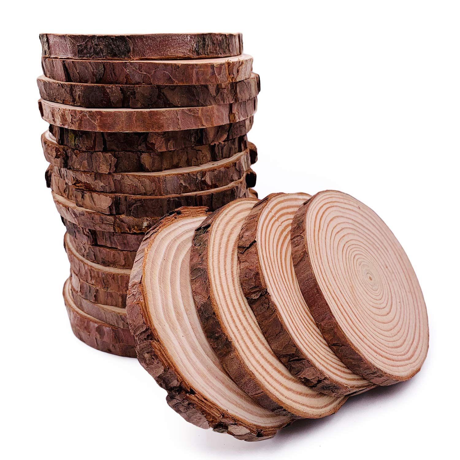 Unfinished Natural Wood Slices 20 Pcs 3.5-4 inch Craft Wood kit Circles Crafts Christmas Ornaments DIY Crafts with Bark for Crafts by William Craft by William Craft