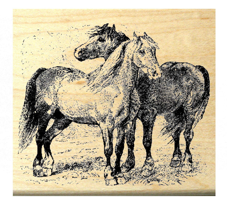 P4 Horses Rubber Stamp Wm 3x2.75''