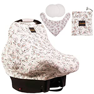 Lilmonki Multi-Use Nursing Scarf - Breathable Car Seat, Stroller, and Cart Cover for Babies - Colorful Tulip Print - Bandana Bib, Pouch & Nursing Pads Included