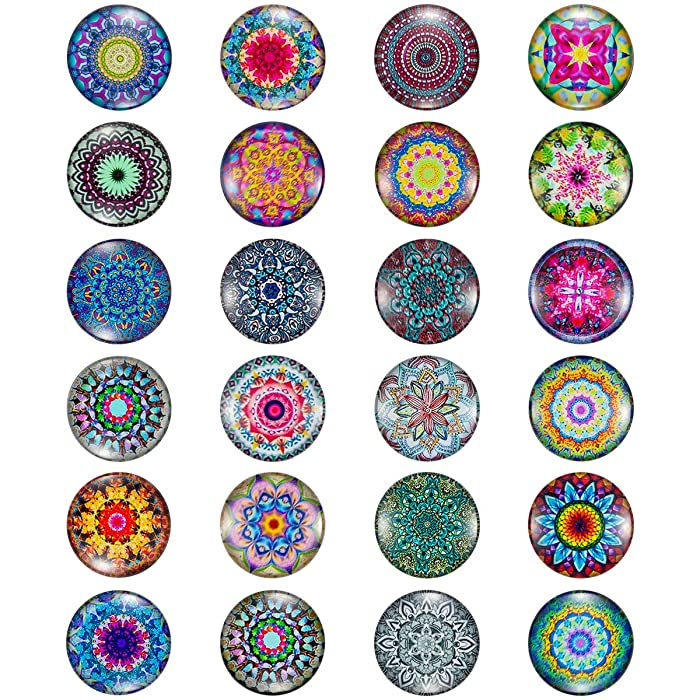 Madholly 24 Pieces Pretty Glass Refrigerator Magnets, Beautiful Fridge Magnets for Refrigerator Office Cabinet Whiteboard Photo, Great Magnet Set for Decor and Necessary Use